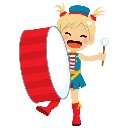 マーチング バンドの大きな演奏にかわいい女の子のドラムします。  イラスト・ベクター素材