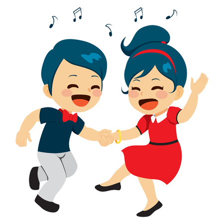 couple together: Young cute couple dancing together enjoying music Illustration