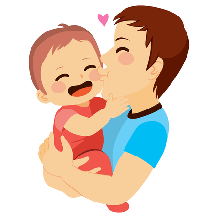 若いお父さんにキスされているかわいい赤ちゃん  イラスト・ベクター素材