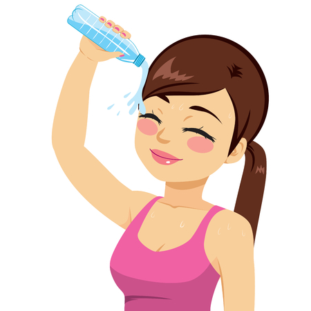 young lady: Beautiful young woman refreshing her head splashing with bottle of mineral water Illustration