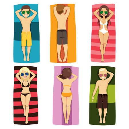 woman lying down: Young people in different position lying down on towel beach Illustration