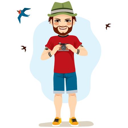 Junger glücklicher Mann, der Fotos von Vögeln als Hobby nimmt Standard-Bild - 80201086