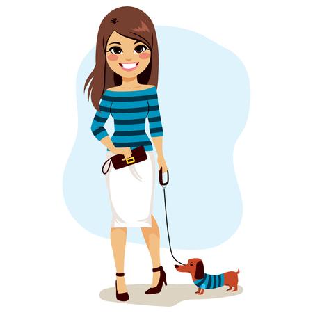 Stijlvolle mode meisje met kleine hond en gecoördineerde kleding