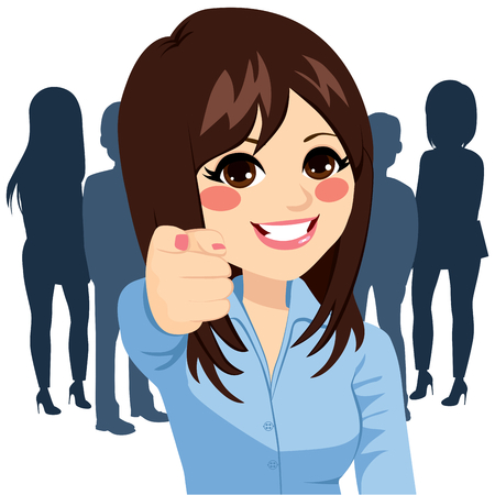 Beautiful young happy businesswoman pointing her finger at you we are hiring concept Çizim