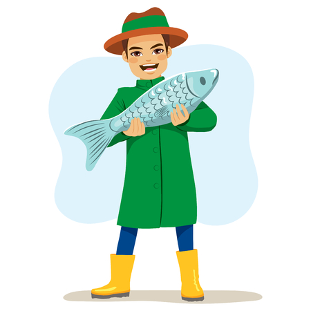 huge: Happy fisherman character holding big fish on his arms Illustration