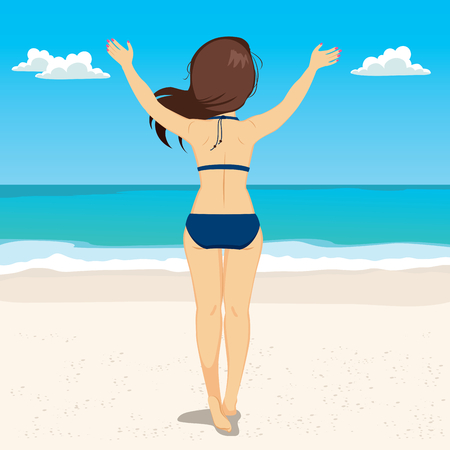 holiday vacation: Summer Vacation of happy carefree woman standing back on relaxing holiday tropical beach Illustration