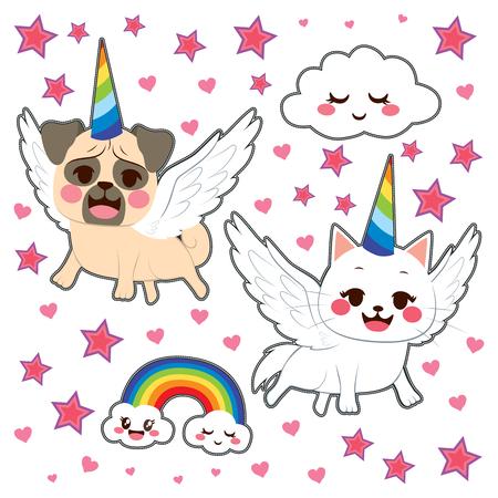 Nette Comic-Tier-Aufkleber Pop-Art-Stil von Hund und Katze als Einhorn mit Sternen, Regenbogen und Wolken verkleidet