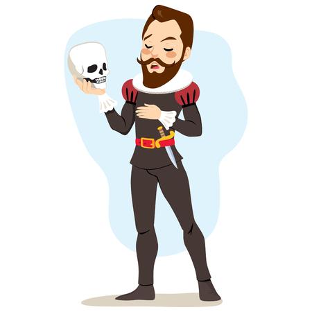Mannelijke kunstenaar acteur spelen Hamlet schedel te houden