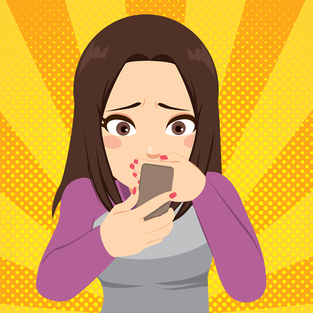 Girl cyber bullying concept receiving message at mobile cell phone Vectores