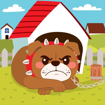 Illustration of dangerous bulldog dog lying in front of little house Illustration
