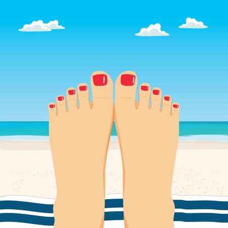 Close up illustration of female feet on beach