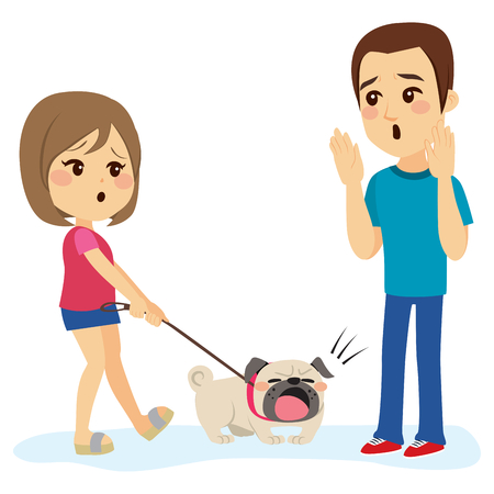 Little bulldog dog pet barking man while walking with his girl owner Vectores