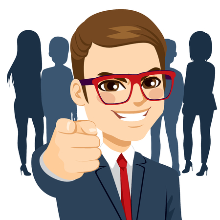 Young happy businessman pointing his finger at you we are hiring concept Çizim