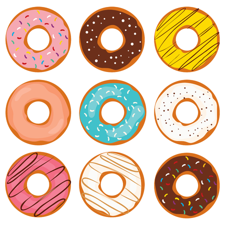 Illustration of various colorful sweet doughnut collection