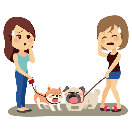 Little barking dogs fighting on walk time with embarrassed owners Иллюстрация