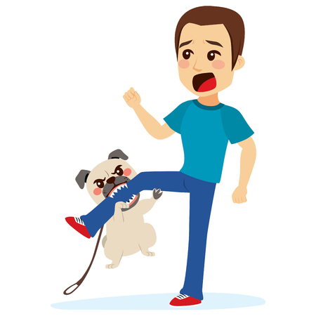 Dog attacking young scared man biting his leg