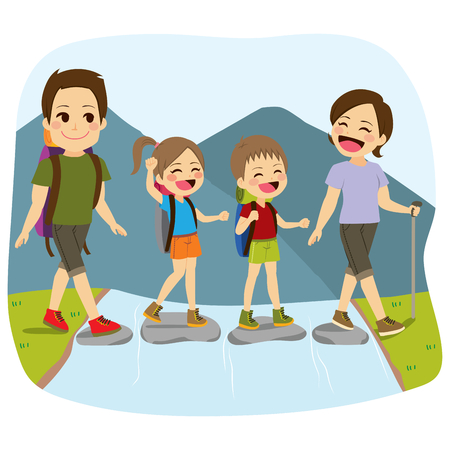 Young cute happy family crossing river on mountain nature summer vacation trip