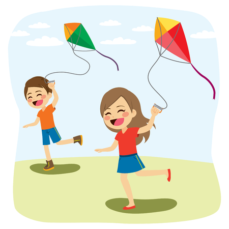 Cute young children friends playing and flying colorful kite over blue sky