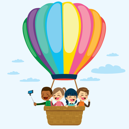 Happy little children flying on colorful hot air balloon Vectores