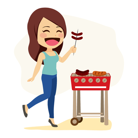 Young happy caucasian woman preparing sausages on grill barbecue Illustration
