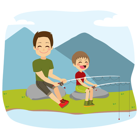 Young cute father and son fishing with fishing-rod together on lake