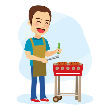 prepare: Young caucasian cheerful man cooking hamburger on barbecue grill Illustration