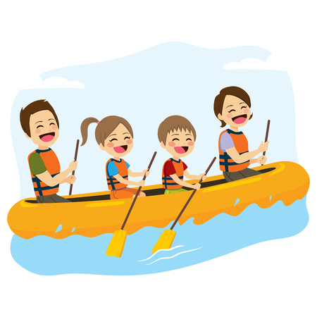 Young happy family rafting together in wild river Çizim