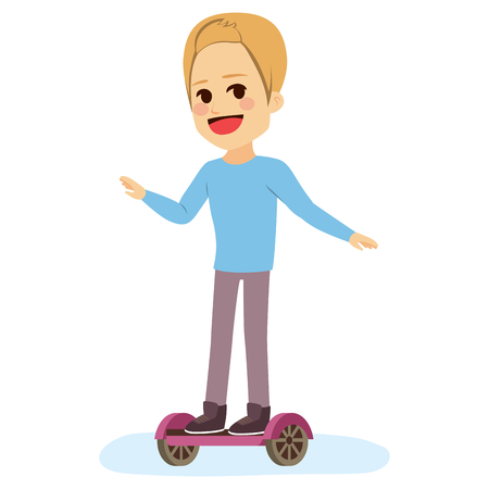 Young teenager man riding self balancing scooter Illustration