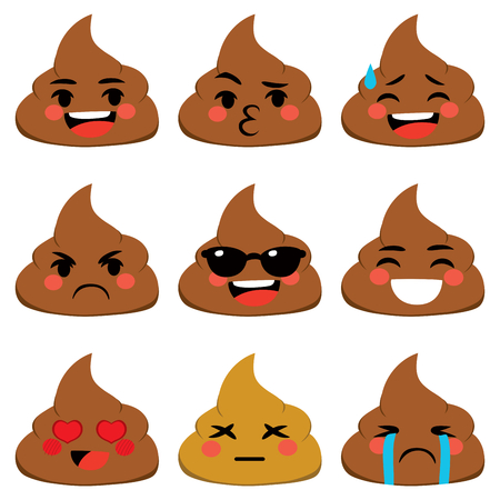 Set collection of poo shit emoji icon with different face expression Illustration