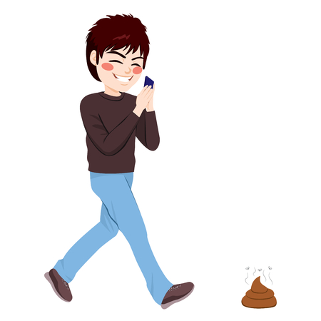 feces: Careless teenager boy about to step on dog shit poop while using smartphone addiction concept