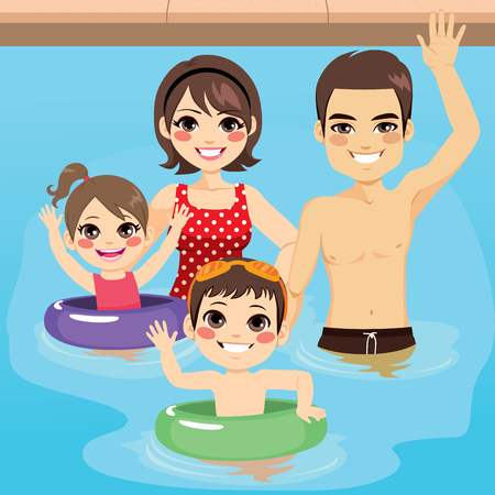 Cute young family happy together at swimming pool