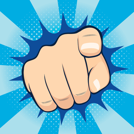 Close up illustration of finger pointing towards you