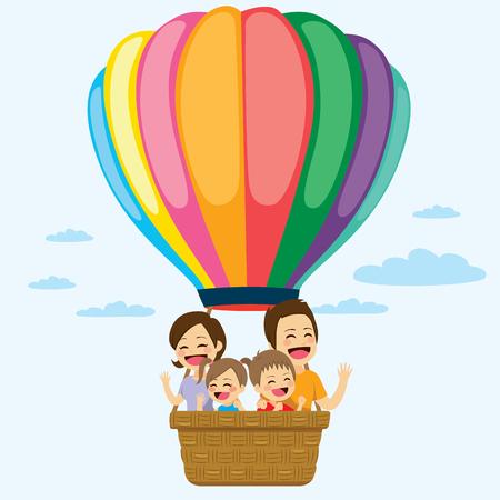 Glückliche Familie Reiten auf bunten Heißluftballon zusammen
