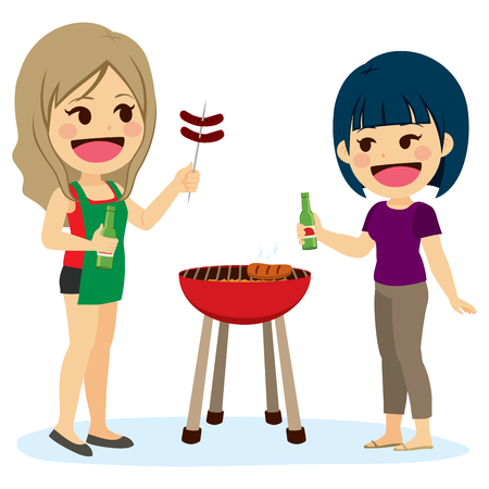 beer garden: Two girl friends preparing barbecue talking and drinking beer on vacation