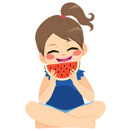 Happy young little girl enjoying eating delicious watermelon holiday summer concept