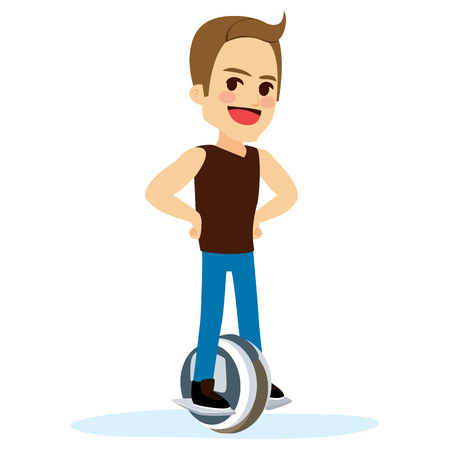 Man with casual clothes riding electric unicycle self balancing electric scooter cartoon character Illustration