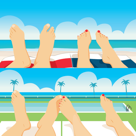 Close up illustration of summer vacation female and male couple feet relaxing in beach ocean and pool tanning at tropical vacation Illustration