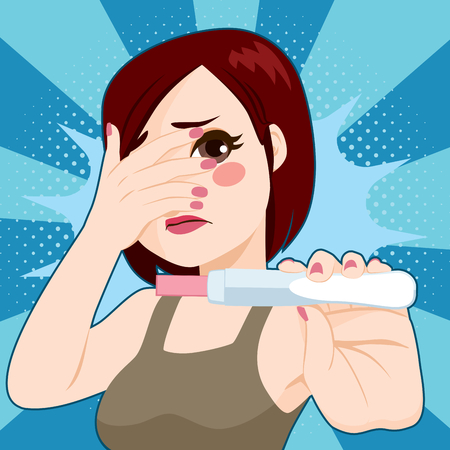 Worried young woman terrified with pregnancy test Stock Illustratie
