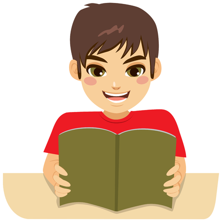 Little teenager boy enjoying learning reading book