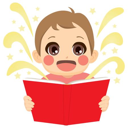 Cute little kid reading fairy tale book