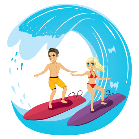 Young couple surfing riding blue ocean wave on summer vacation