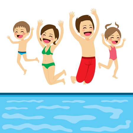 boy swim: Family jumping happy to swimming pool water on summer vacation