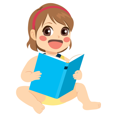 Adorable little baby girl reading fairy tale book Illustration