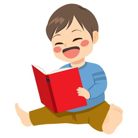 happy people: Little baby boy sitting on floor reading book
