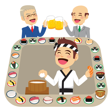 Illustration of sushi bar restaurant food belt with Japanese male cook making salmon maki people eating toasting and drinking beer