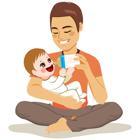 Young male father cute newborn baby feeding him with milk bottle sitting on floor Illustration