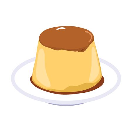 Illustration of flan caramel pudding dessert with soft caramel