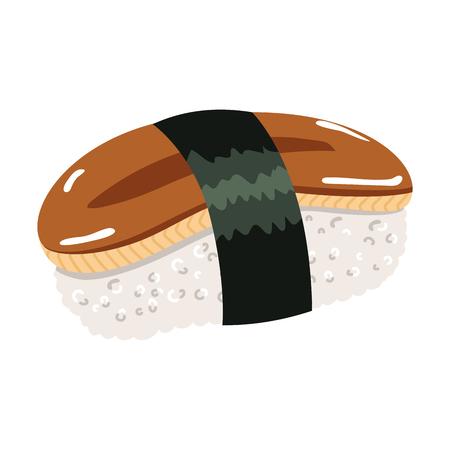 Illustration of Japanese cuisine sushi smoked eel roll