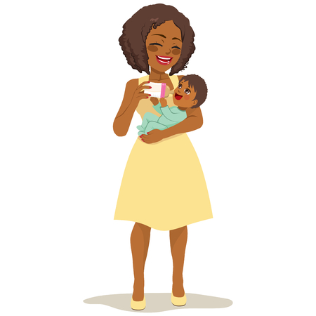 Beautiful young African American woman in yellow dress holding cute newborn baby feeding her with milk bottle Illustration