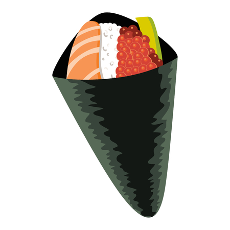 Illustration of Japanese fusion cuisine California hand roll sushi with salmon avocado and red caviar maki Illustration